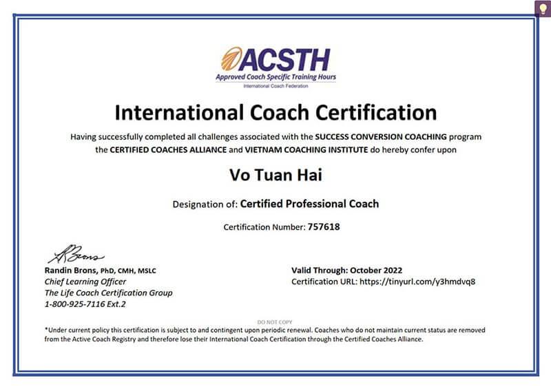Chứng chỉ là nhà huấn luyện quốc tế