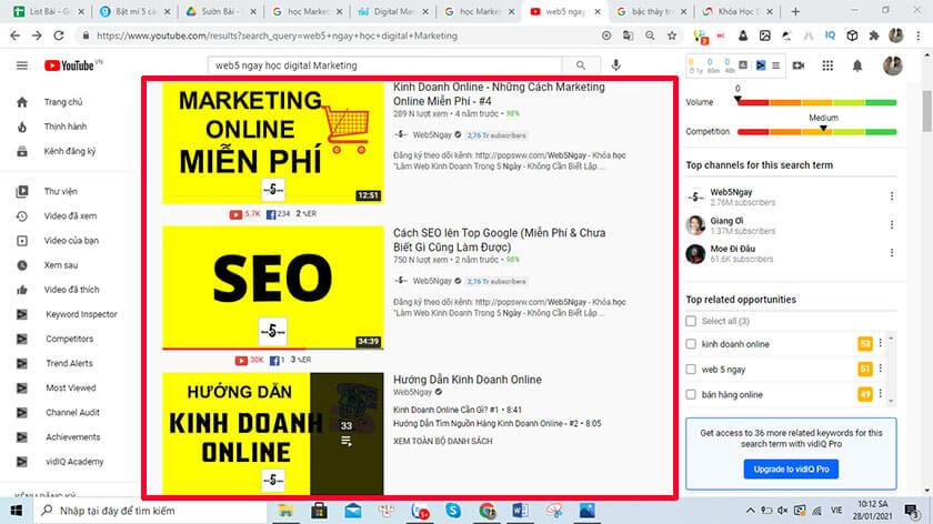 học marketing online qua youtube